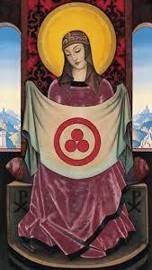 Madonna Oriflamma - Nikolai Konstantinow. Roerich en reproducción impresa o  copia al óleo sobre lienzo.